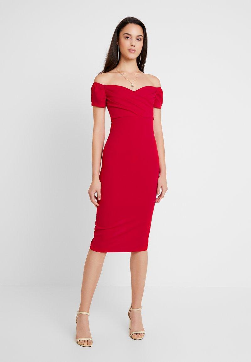 Topshop - BARDOT WRAP DRESS - Cocktailkleid/festliches Kleid - red