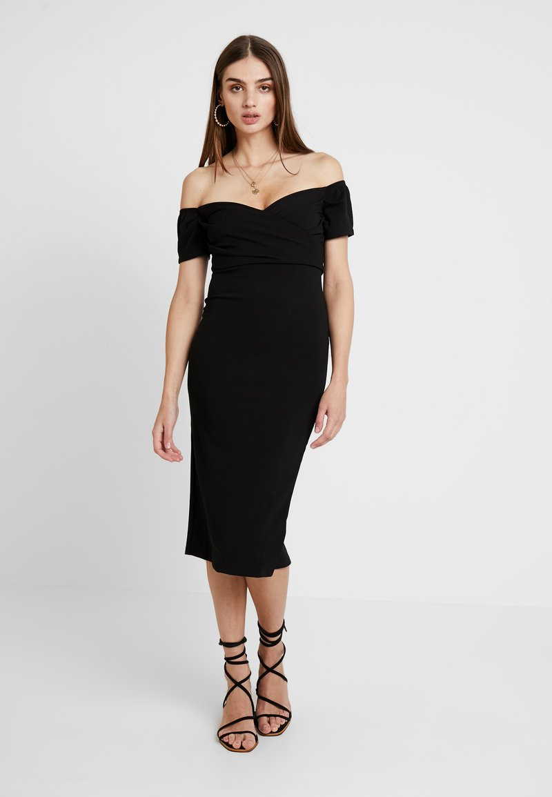 Topshop - BARDOT WRAP DRESS - Cocktailkleid/festliches Kleid - black