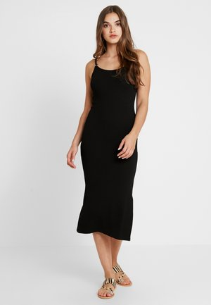 TEXTURED RING MIDI - Jersey dress - black