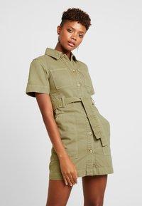 Topshop - UTILITY DRESS - Denim dress - khaki - 0