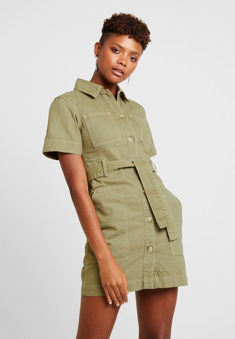 Topshop - UTILITY DRESS - Denim dress - khaki