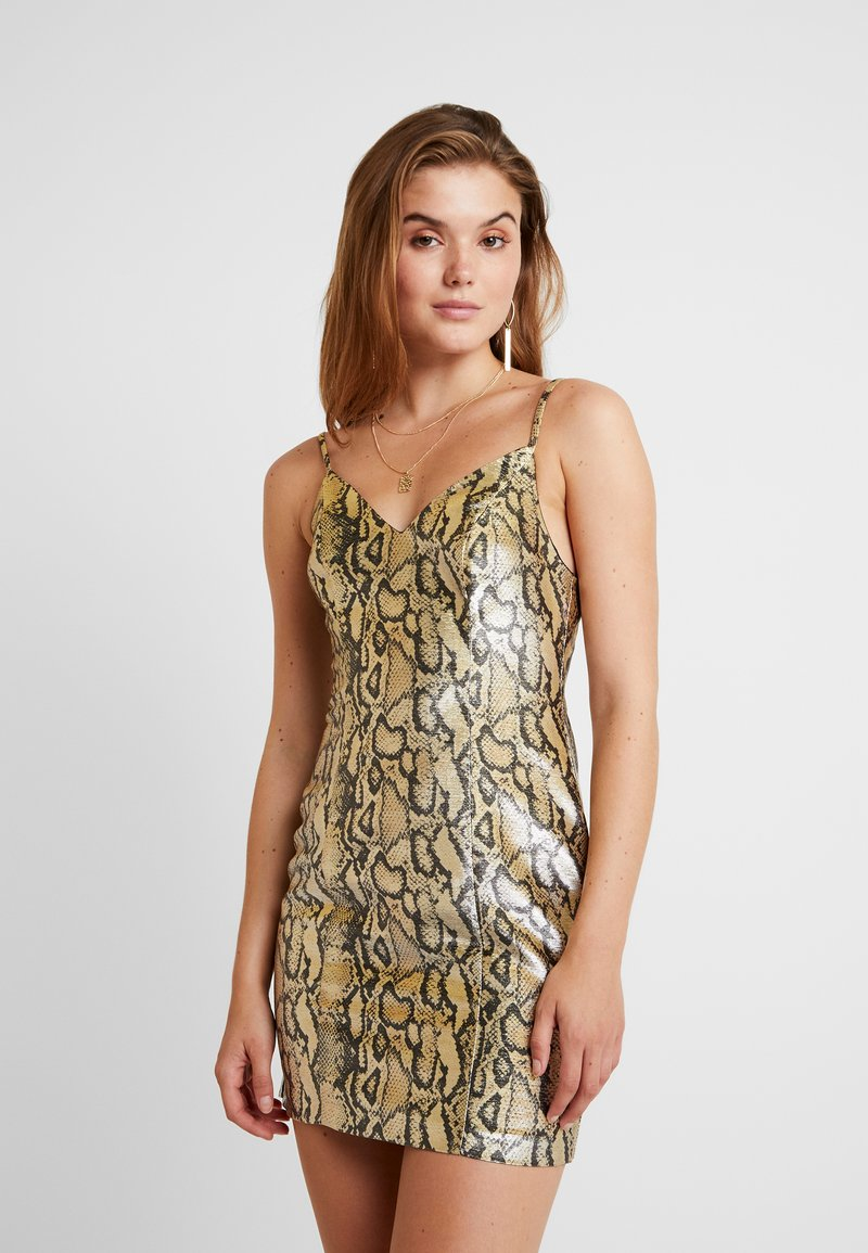 Topshop - SNAKE MINI - Cocktail dress / Party dress - gold