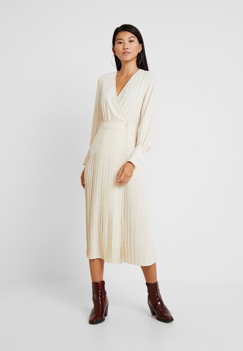Topshop - PLEATED WRAP - Day dress - cream