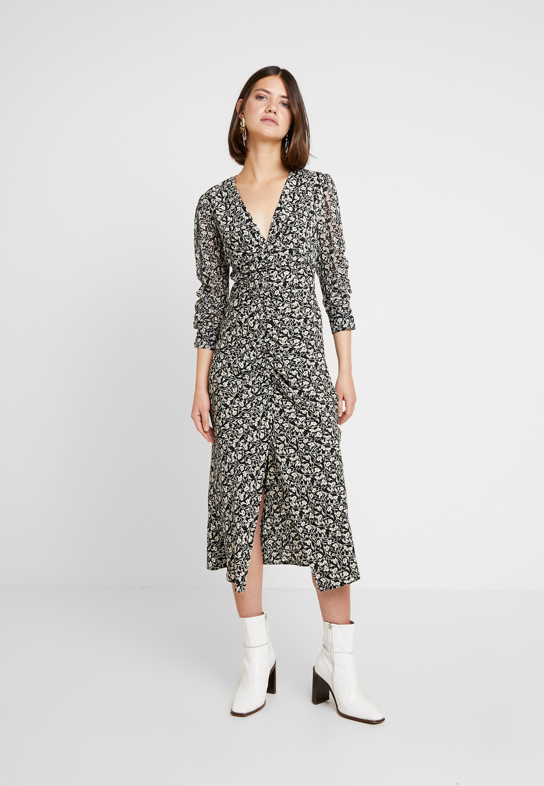Topshop V NECK TRUMPET - Sukienka letnia - black/off-white