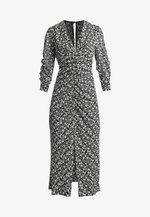 V NECK TRUMPET - Denní šaty - black/off-white