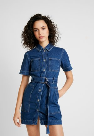 PATCH POCKET DRESS - Spijkerjurk - blue denim