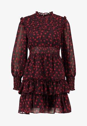 RUFFLE SHIRRED MINI - Day dress - red