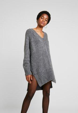 V NECK DRESS - Jumper dress - charcoal