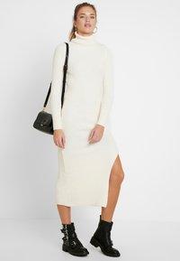 Topshop - ROLL NECK DRESS - Abito in maglia - off white - 1
