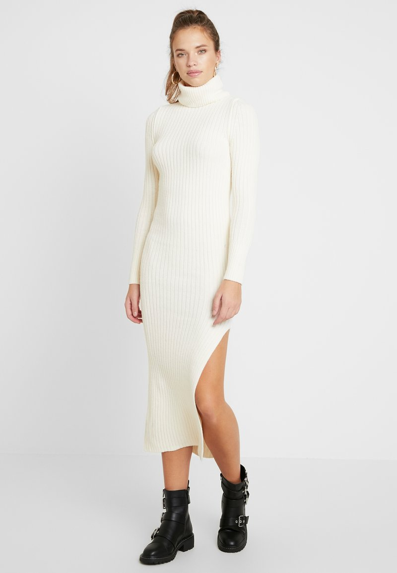 Topshop - ROLL NECK DRESS - Robe pull - off white