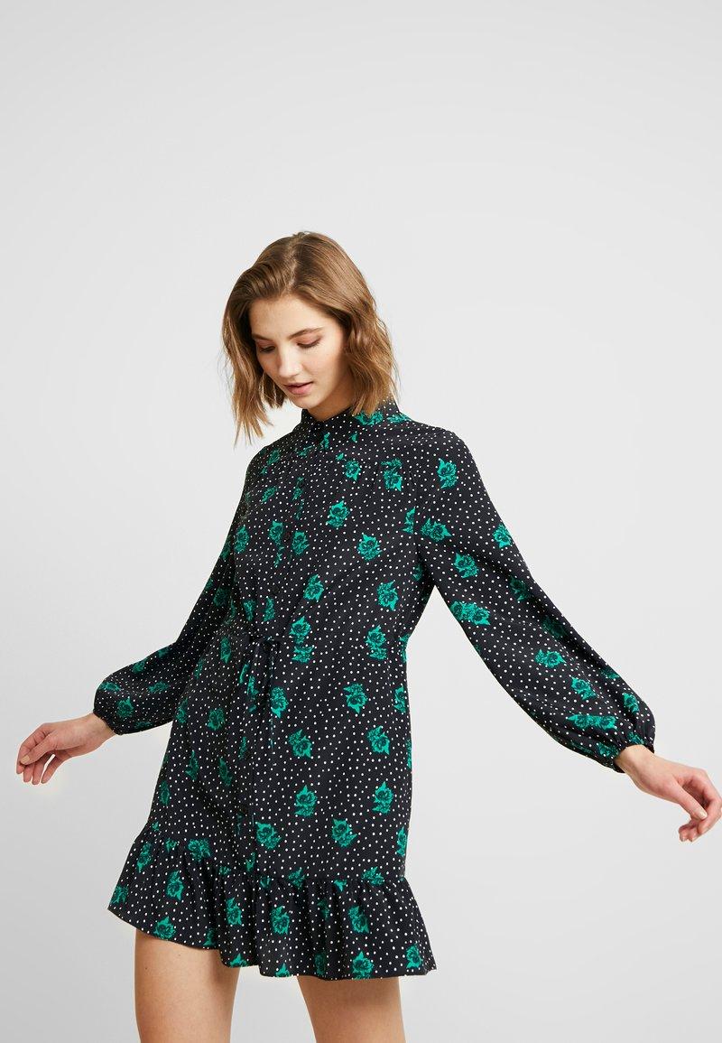 Topshop - TIERED MINI SHIRT DRESS - Shirt dress - mono