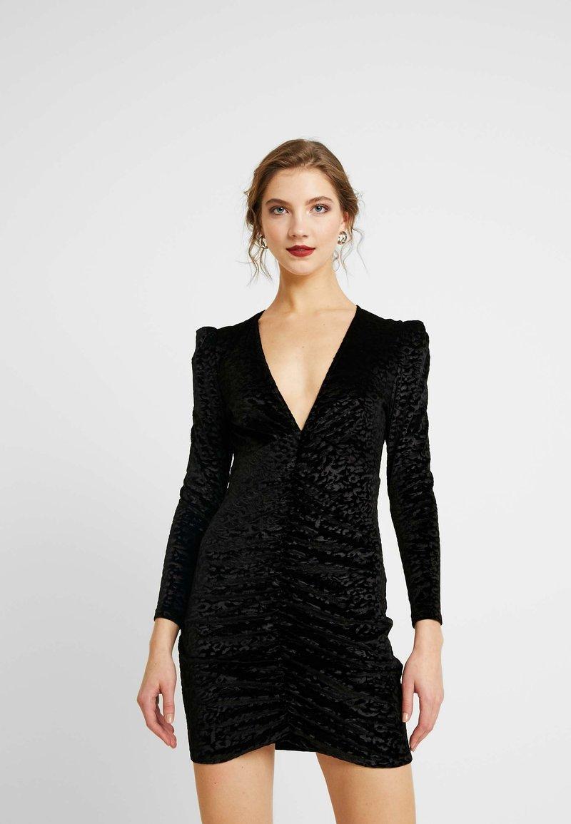 Topshop - ANIMAL RUCH - Robe de soirée - black