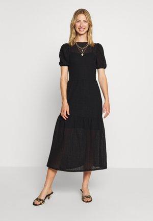 TEXTURED PUFF SLEEVE MIDI - Day dress - black