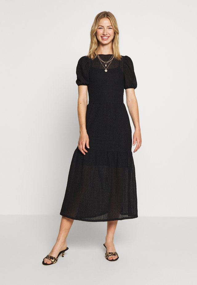 TEXTURED PUFF SLEEVE MIDI - Vestito estivo - black