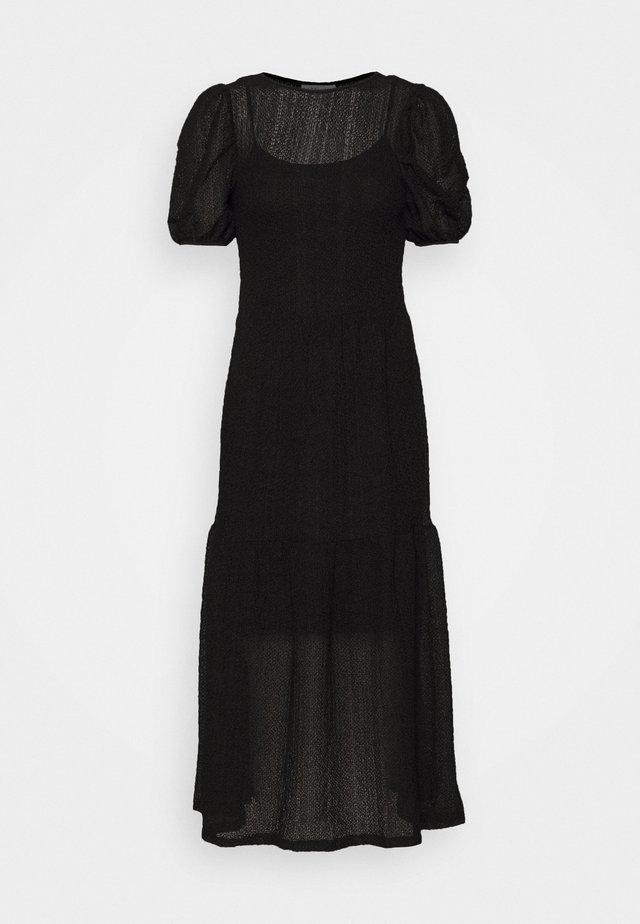 TEXTURED PUFF SLEEVE MIDI - Korte jurk - black