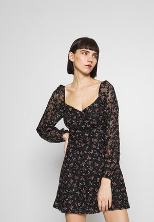 FLORAL LACE MINI - Robe d'été - black