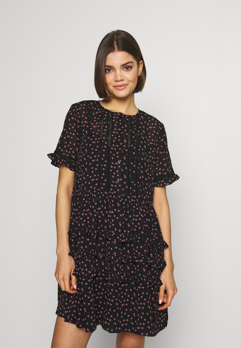 Topshop - DITSY LADDER TRIM MINI - Korte jurk - black