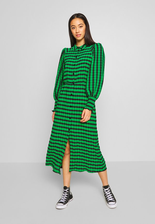 CHECK SHIRRED - Vestido informal - green