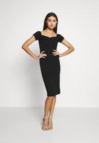 Topshop - BARDOT WRAP MID - Pouzdrové šaty - black - 0