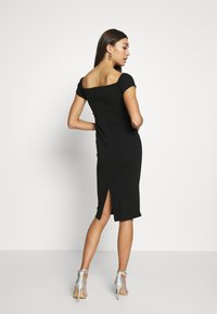 Topshop - BARDOT WRAP MID - Pouzdrové šaty - black - 2
