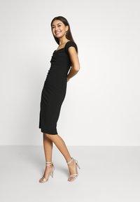 Topshop - BARDOT WRAP MID - Pouzdrové šaty - black - 1