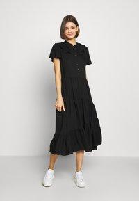 Topshop - GRANDAD COLLAR SHIRTDRESS - Sukienka letnia - black - 1