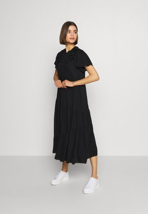 GRANDAD COLLAR SHIRTDRESS - Day dress - black