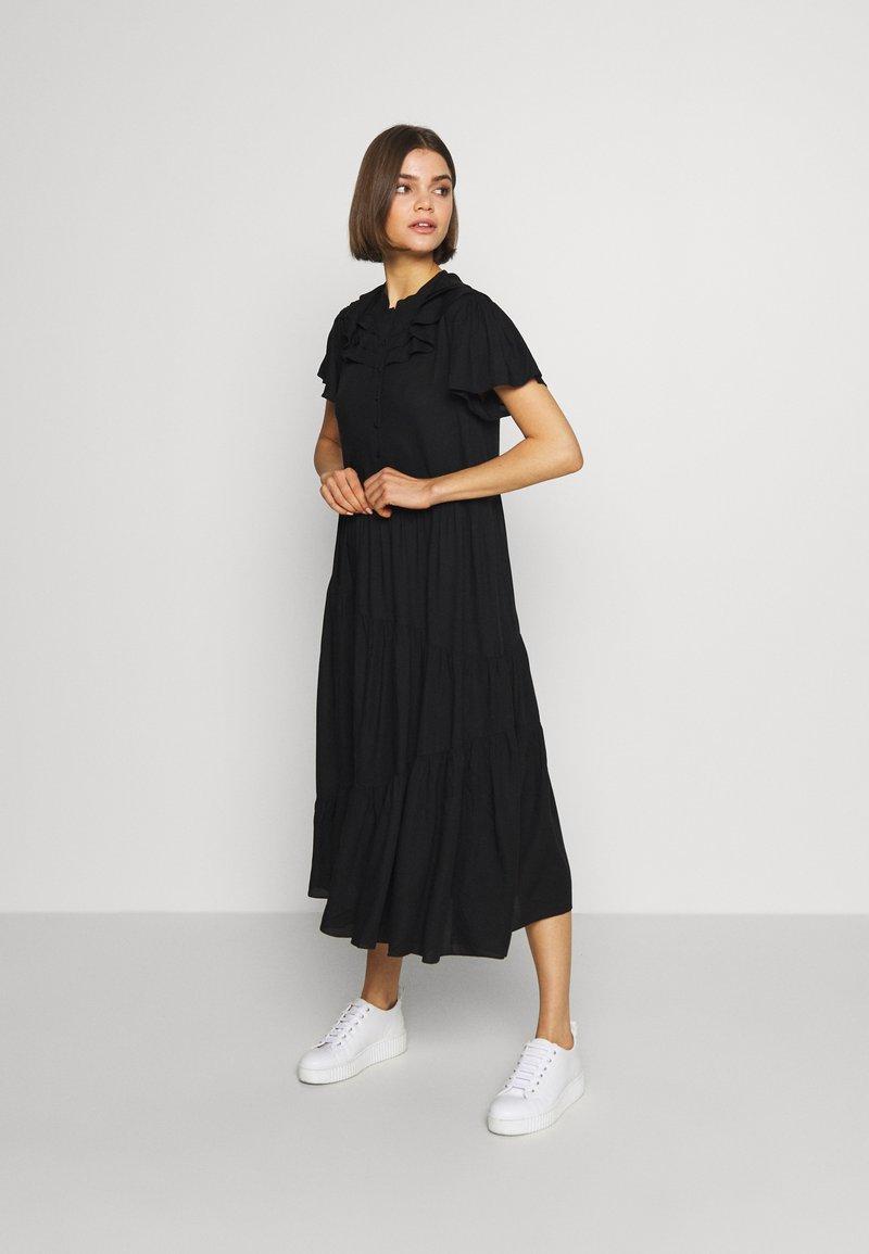 Topshop - GRANDAD COLLAR SHIRTDRESS - Sukienka letnia - black
