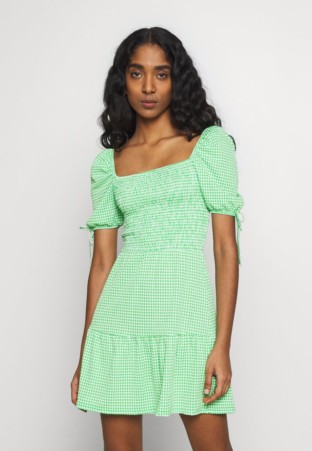 GINGHAM SHIRRED TEA DRESS - Vardagsklänning - green