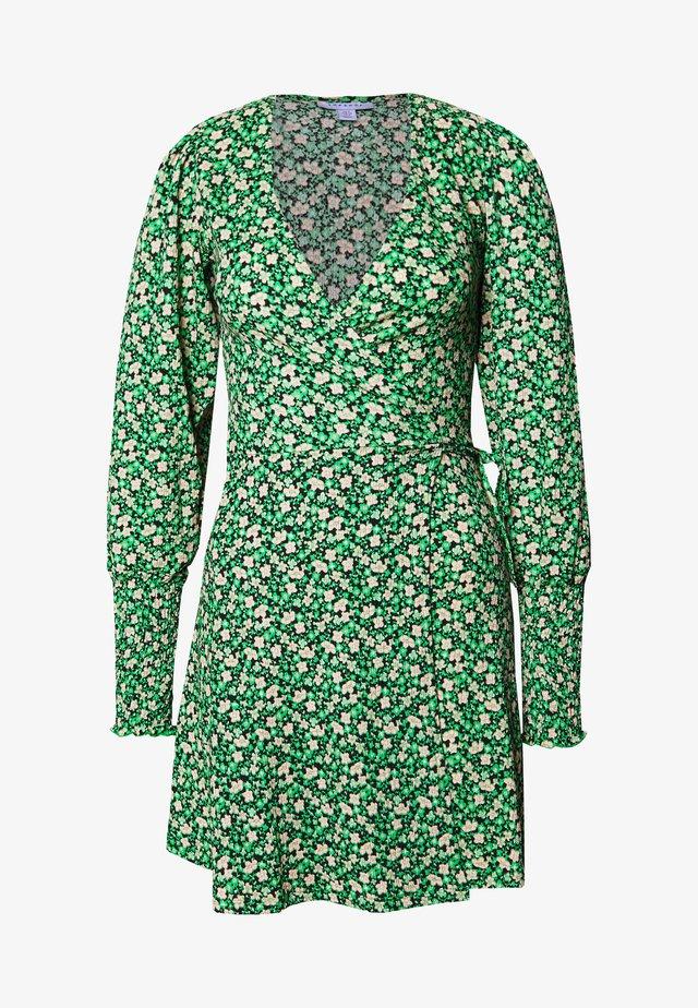 FLORAL MINI WRAP - Vestito estivo - green