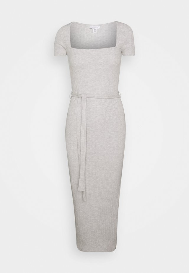 SQUARE NECK MIDI DRESS - Jerseykleid - grey marl