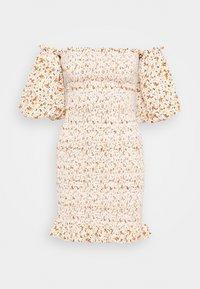 Topshop - SHIRRED BARDOT MINI DRESS - Sukienka letnia - ivory - 0