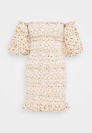SHIRRED BARDOT MINI DRESS - Shift dress - ivory