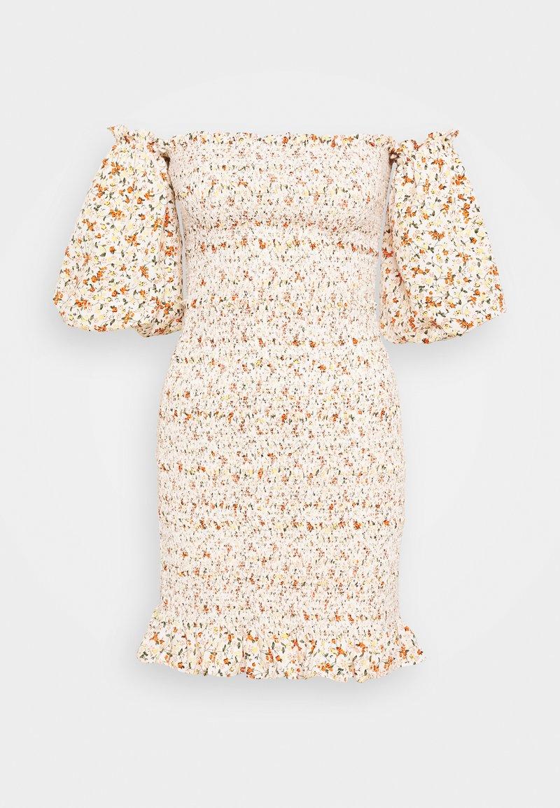 Topshop - SHIRRED BARDOT MINI DRESS - Sukienka letnia - ivory