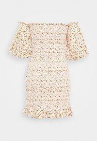 Topshop - SHIRRED BARDOT MINI DRESS - Sukienka letnia - ivory - 1