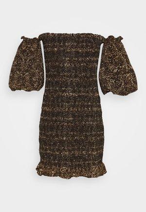 SHIRRED BARDOT MINI DRESS - Etuikleid - brown