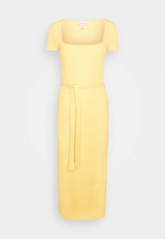SQUARE NECK MIDI DRESS - Sukienka etui - yellow