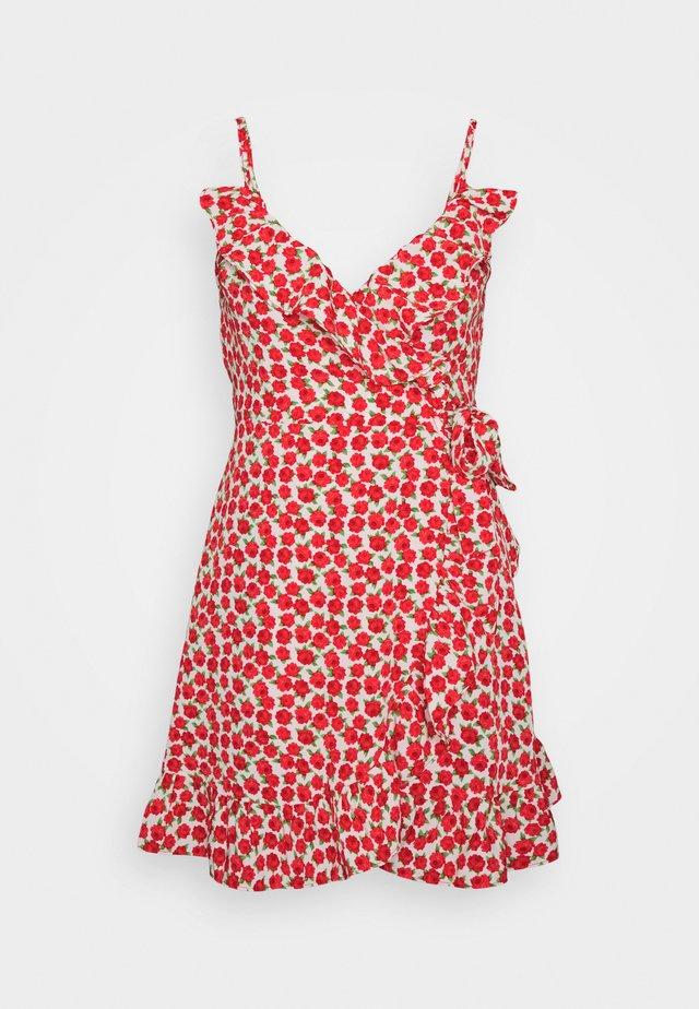 RUFFLE SLIP DRESS - Vestito estivo - red