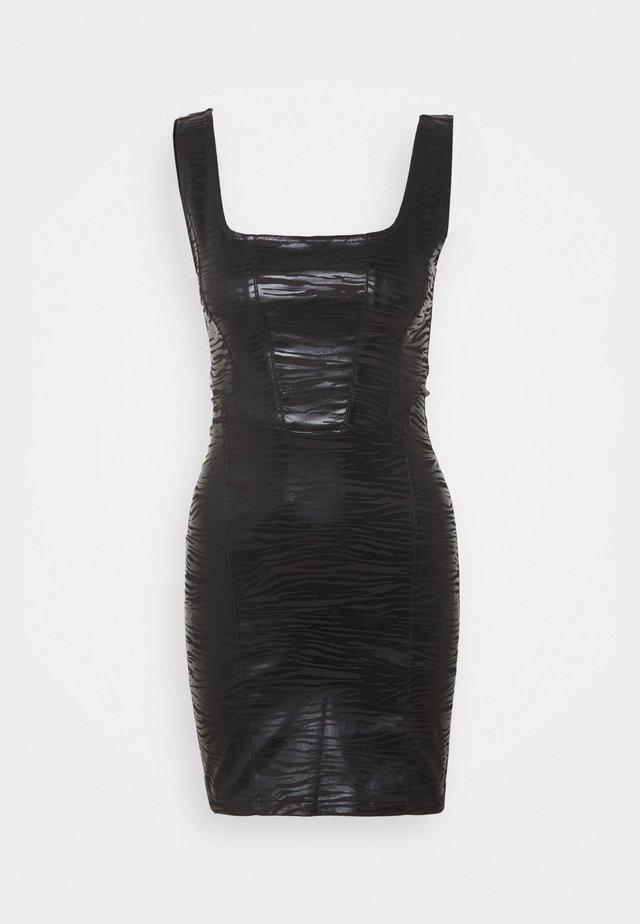 ZEBRA JONI CORSET DRESS - Sukienka etui - black