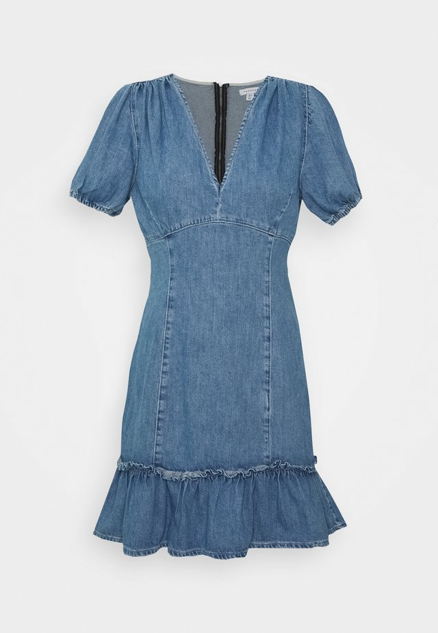 FRILL HEM SERENA DRESS - Vestido vaquero - light-blue denim