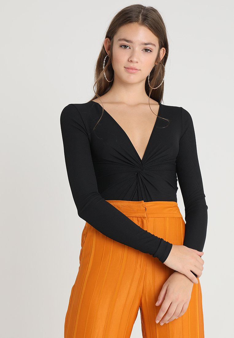 Topshop - KNOT FRONT - Long sleeved top - black