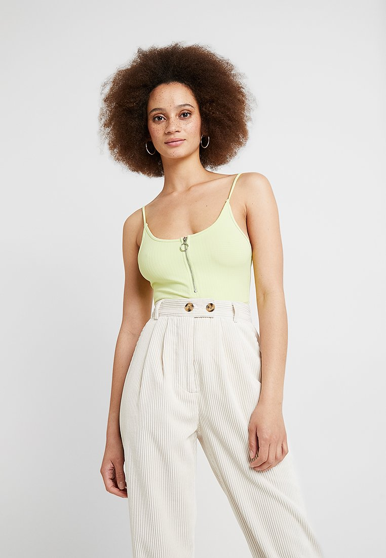Topshop - ZIP PLUNGE BODY - Top - neon yellow