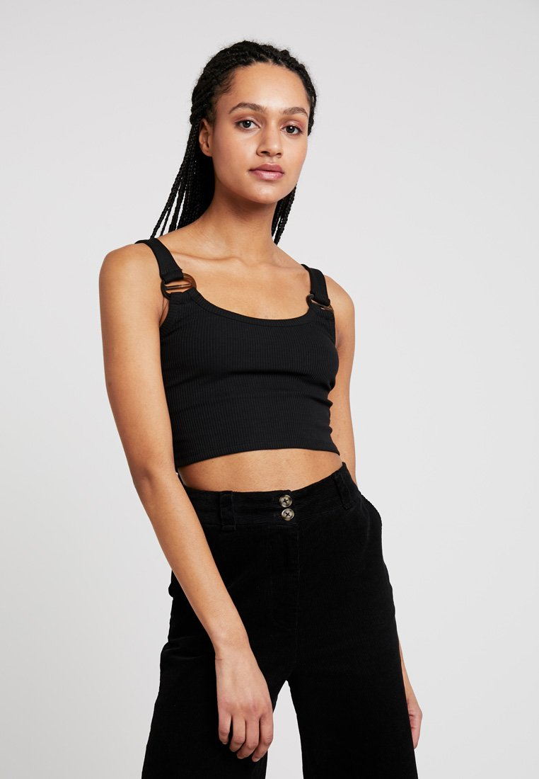Topshop - BUCKLE CROP - Toppe - black