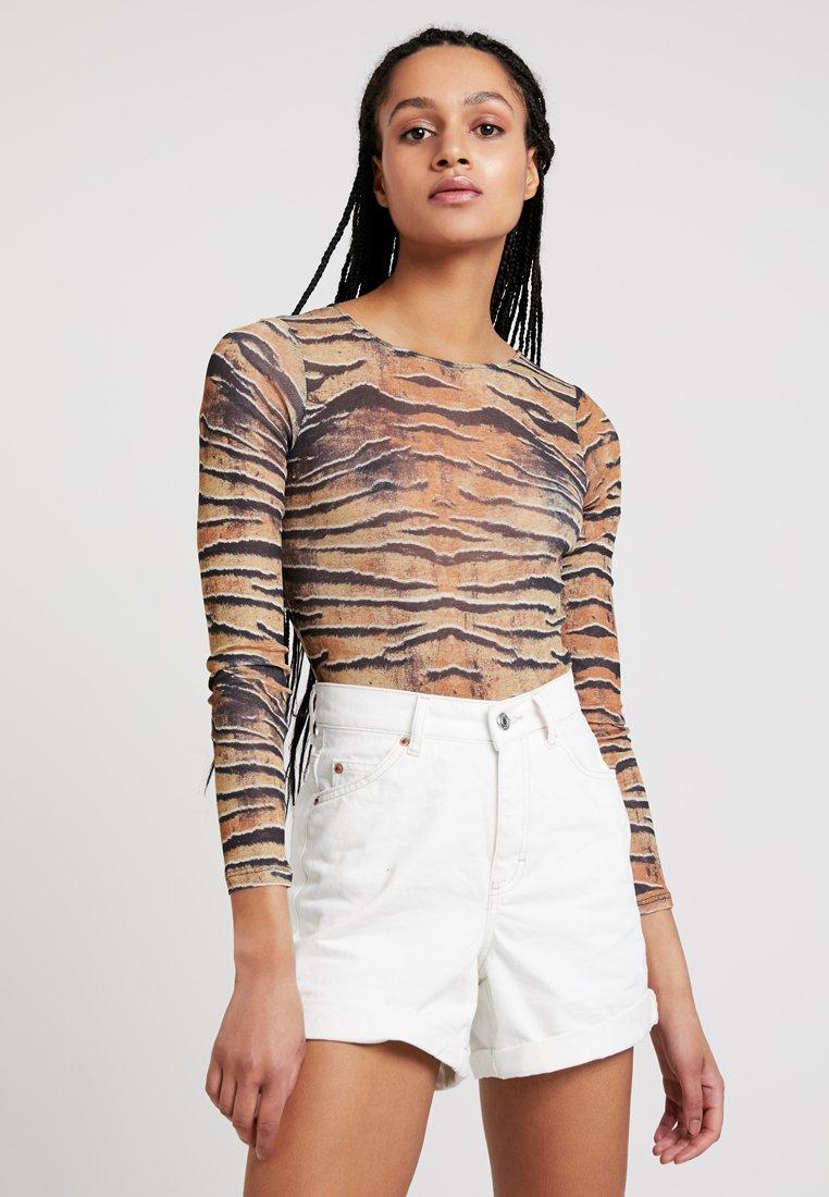 Topshop - TIGER PRINT BODYSUIT - Long sleeved top - brown