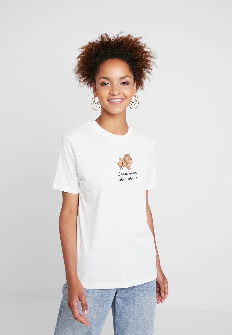 Topshop - POM POM TEE - T-Shirt print - white