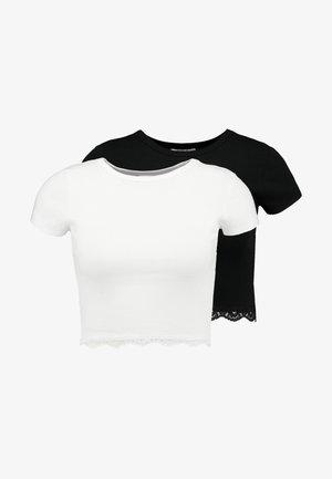 HEM CREW NECK 2 PACK - T-paita - black/white