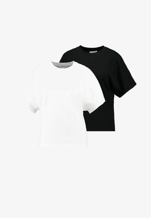 BOXY ROLL TEE 2 PACK - T-shirt basic - black/white