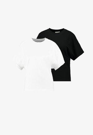 BOXY ROLL TEE 2 PACK - Basic T-shirt - black/white