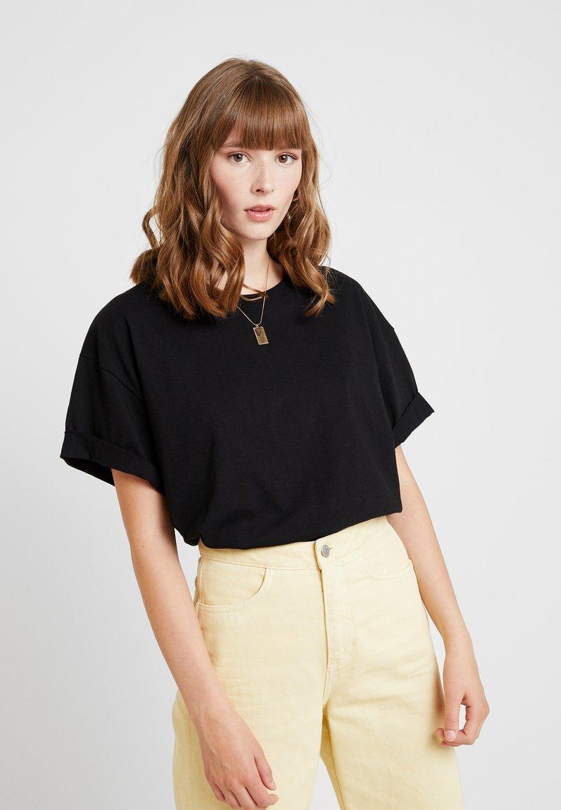 Topshop - BOXY ROLL TEE 2 PACK - Basic T-shirt - black/white