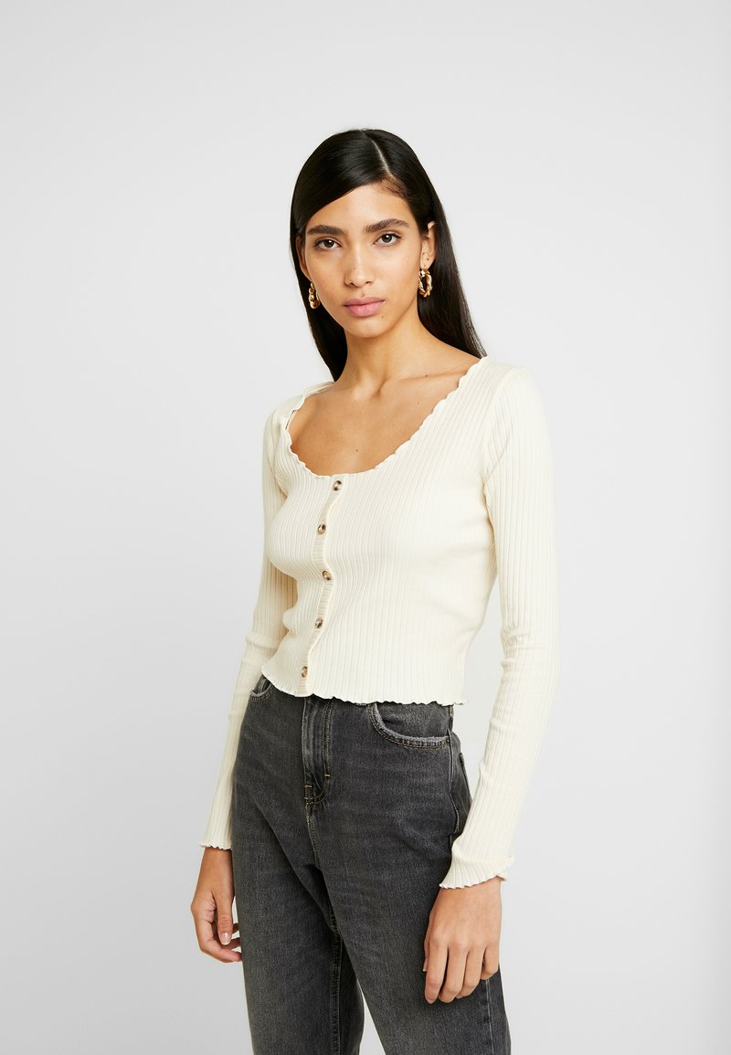 Topshop - LETTUCE BUTTON - Long sleeved top - cream
